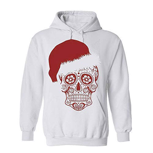 Usstore  Women Girls Christmas Hoodie Sweatshirt Winter Causal Simply Christmas Hat&Skull Printed Pullover Blouse Tops (XXL, White)