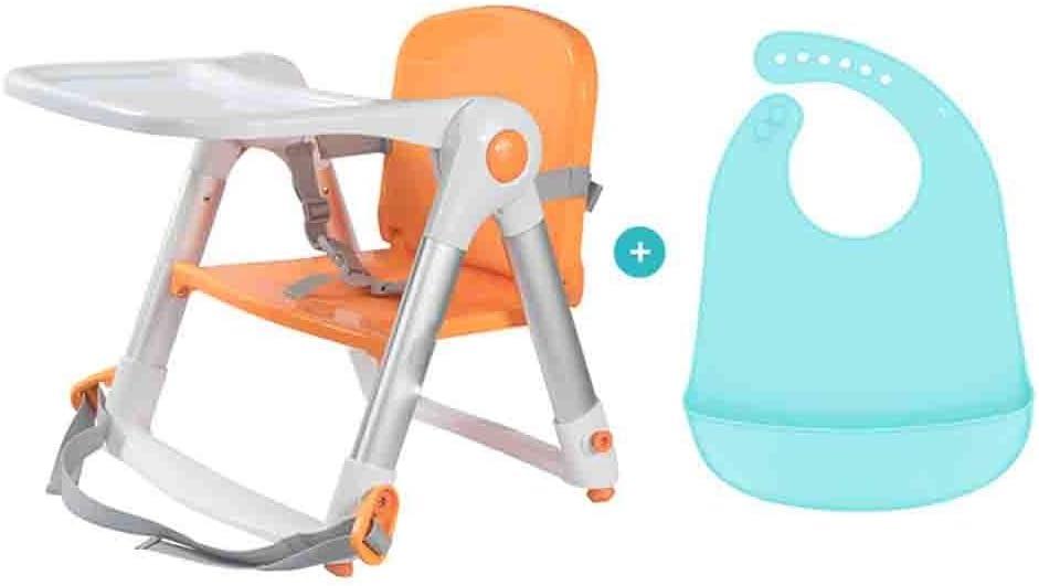 WFF カウンターチェア ポータブルブースターシートは、キャリーバッグ、赤ちゃんダイニングチェア、ベビー、折り畳み式、軽量、簡単で旅行ブースター摂食座席表ダイニングチェア、食べます (Color : Orange)