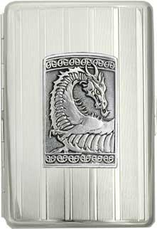 100mm 'Gothic Celtic Dragon' Cigarette Case / Stash Holder - Vertical Line Pattern (Gift Box Edition)