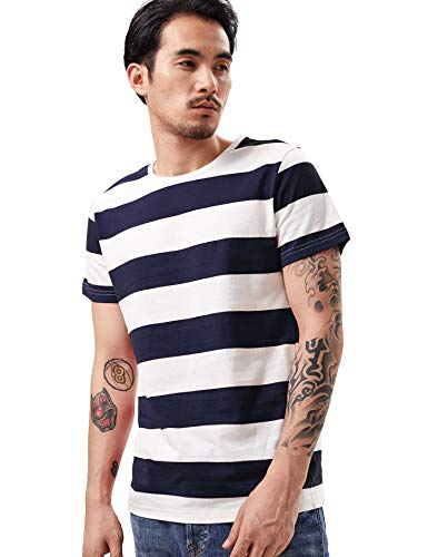 Zbrandy Wide Striped T Shirt for Men Sailor Tee Red White Black Navy Stripes Top Basic]()