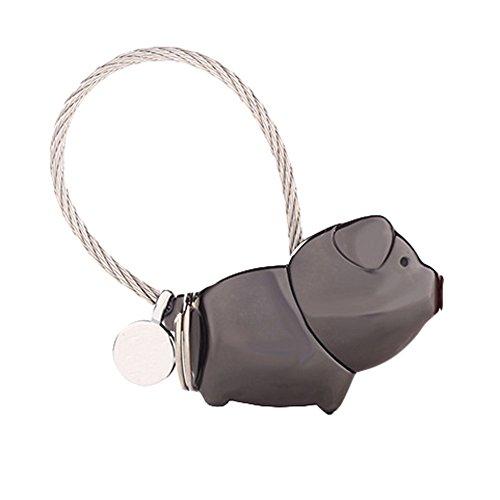 preliked Cute Kissing Sweet Animal Pig Keychain Key Ring Couple Decorative Charm Present (Black) (Pig Sweet)