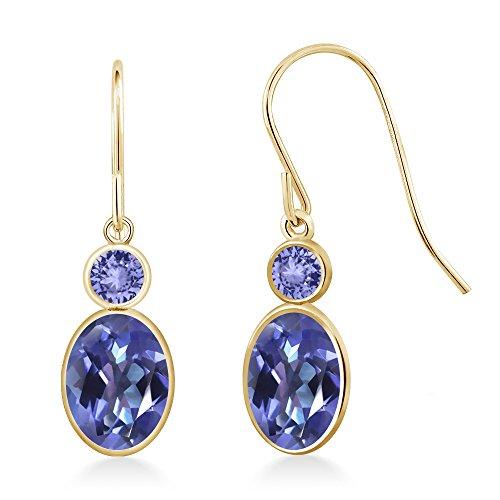 2.14 Ct Oval Purple Blue Mystic Topaz & Blue Tanzanite 14K Yellow Gold Earrings 14k Yellow Gold Tanzanite Earrings