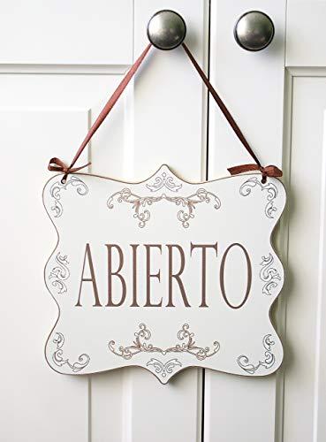 Abierto/Cerrado - letrero de madera colgante de la puerta de la tienda de doble cara (elegante y en mal estado)