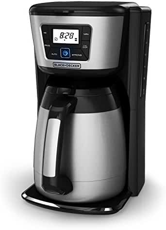 BLACK+DECKER CM2035B 12-Cup Thermal Programmable Coffeemaker, Black and Stainless Steel
