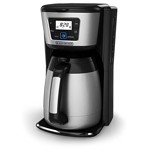 BLACK+DECKER 12-Cup Thermal Coffeemaker, Black/Silver, CM2035B (Metal Coffee Pot)