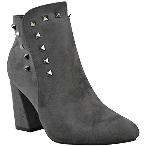 Fashion Thirsty Womens Ladies Cuban Block Mid High Heel Ankle Boots Studded Chunky Shoes Size Grey Faux Suede / Gun Metal Stud