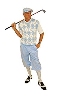 1920s Style Men's Pants & Plus Four Knickers Carolina Blue Knickers Polo Cap and Socks $99.00 AT vintagedancer.com