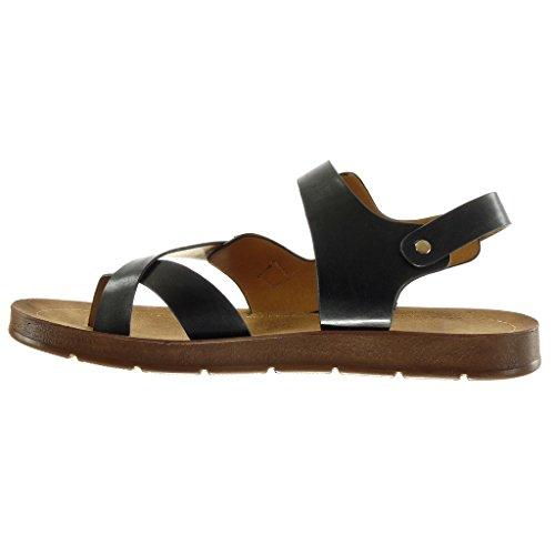 Angkorly - Chaussure Mode Sandale femme lanière boucle doré Talon plat 2 CM - Noir