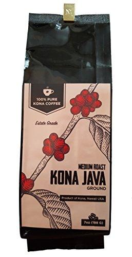 Kona Coffee by Kona Java – 100% Pure Hawaiian Kona Coffee Beans – Gourmet Medium Roast Ground 7 oz – Experience the Richness