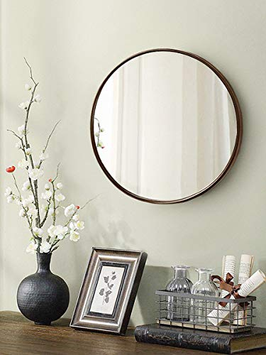 "TinyTimes 27.56"" Wall Mirror, Round Vanity Mirror, Wooden Frame, Large, Clean, Decor, for Entryways, Living Rooms, Bathroom and More, Round Wall Mirror (Dark Brown)"