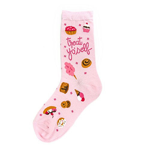 Foot Traffic - Women's Food-Themed Socks, Treat Yo'Self (Women's Shoe Sizes 4-10)