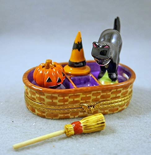 Authentic French Porcelain Hand Painted Limoges Box Halloween Basket with Jack'O Lantern Pumpkin and Black Cat ()