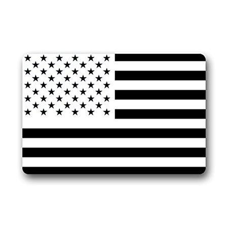 TSlook Doormat Black and White American Flag Indoor/Outdoor/Front Welcome Door Mat(30