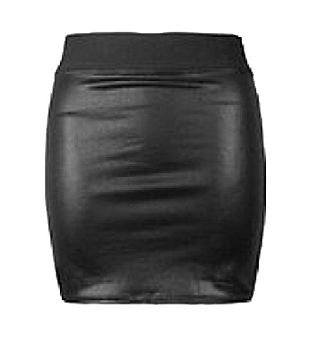 Women Faux Leather Casual Look Zip Short Mini High Waisted Bodycon Skirt