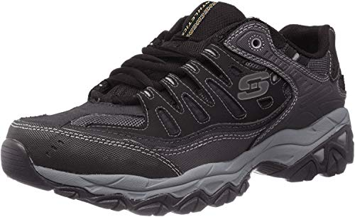 Skechers Sport Men's Afterburn Memory Foam Lace-Up Sneaker, Black, 12 4E US