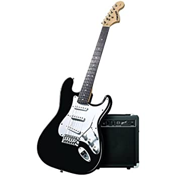 fender starcaster strat electric guitar color gloss black perfect for beginners. Black Bedroom Furniture Sets. Home Design Ideas