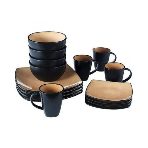 Square Dinnerware Service for 8, Plates Bowls Mugs, 32-Piece Set, Modern Taupe & Black by Gibson Home by Gibson Home (Image #1)