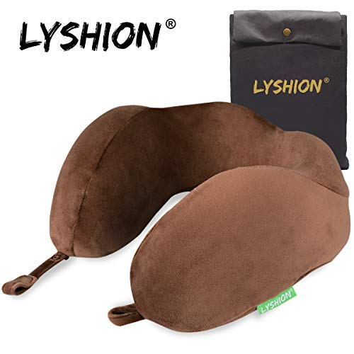 LYSHION Travel Pillows for Airplanes- Memory Foam U-Shaped Adjustable Neck Pillow for Traveling,360-Degree Head Support and Hump-Type Head Rest (Brown)