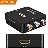 RCA to HDMI, AV to HDMI,GOXMGO 1080P Mini RCA Composite CVBS AV to HDMI Video Audio Converter Adapter Supporting PAL/NTSC with USB Charge Cable for PC Laptop Xbox PS4 PS3 TV STB VHS VCR Camera DVD