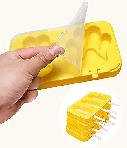 Juego de 2 Molde para Barra de Helado sin BPA Forma de Conejo Coolfan Moldes de Silicona de Paleta casera Tapa Molde para Hielo con 3 cavidades de Silicona