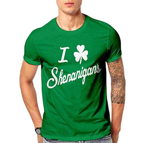 XLnuln Men's Essential Cotton T-Shirt Print Casual Classic Fit O-Neck T-Shirt St. Patrick's Day Short-Sleeved Top -