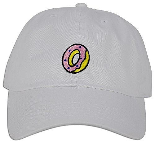 DONUT Hat Dad Embroidered Cap Polo Style Baseball Curved Unstructured Bill (White)
