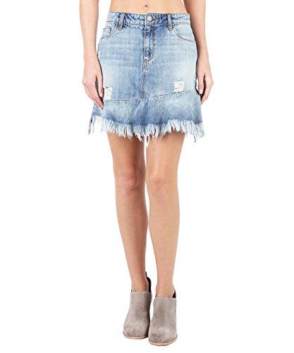 STS Blue Women's Frayed Hem Denim Mini Skirt with Flounce Hem, Carter, 29