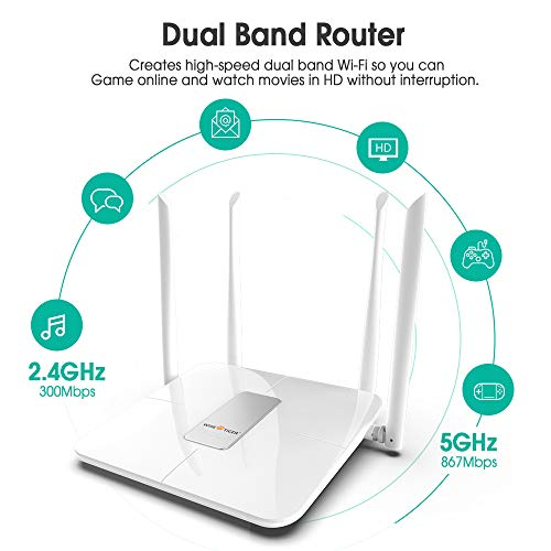 Wifi RouterWifi Extender Combo AC 5GHz Wireless Router for Home Office Internet Gaming Works with Alexa