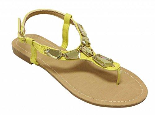 Anna Vita-7 Womens upper inlayed crystal decor PU ankle strap thong sandals Yellow eKrS3UbhZ