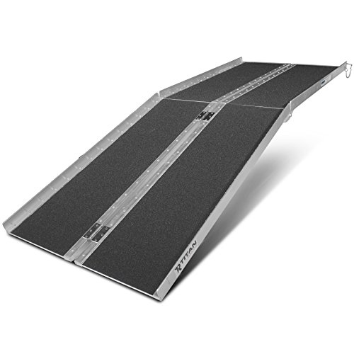 (Titan Ramps 7' ft Aluminum Multifold Wheelchair Scooter Mobility Ramp portable 84