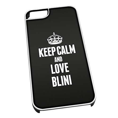 Bianco cover per iPhone 5/5S 0834 nero Keep Calm and Love Blini