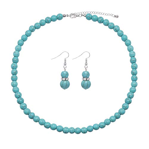 Colorose Bead Strand Necklace for Women 8mm Turquoise Natural Stone Beads Necklace and Earring Set