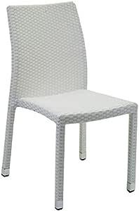 Vilys House Silla polirattan Trenzado Blanco con Estructura metálica Especial para Exterior: Amazon.es: Jardín