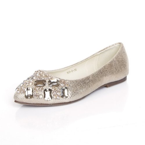 VogueZone009 Womans Closed Pointed Flat PU Soft Material Solid, Gold, 3.5 UK