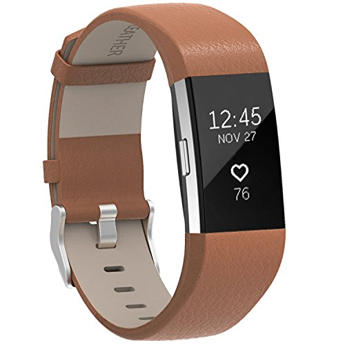For Fitbit Charge 2 Bands Matt Brown, Henoda Leather Wristband for Fitbit Charge 2 Replacement Strap Women Men Large Small (Matt Leather)