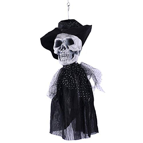 Wetietir Festival Mask Halloween Ghost Festival Horror Props Haunted House Chamber Bar Head Groom Bride Hanging Electric Costume Mask (Color : Groom) ()