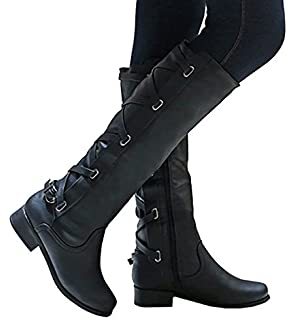 fcc30b9b0984 Meilidress Women Boots Winter Tall Riding Leather Strappy Flat