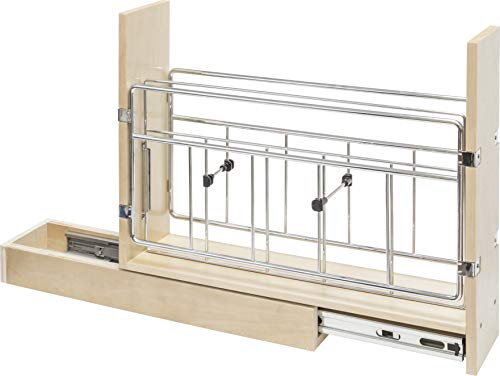 """5"""" Base cabinet pull-out with built in tray divider. 5""""Wx22""""Dx18-1/2""""H. Features 100lb rated Dura-Close soft-closing full extension drawer slides. Designed for 9"""" base cabinet."""