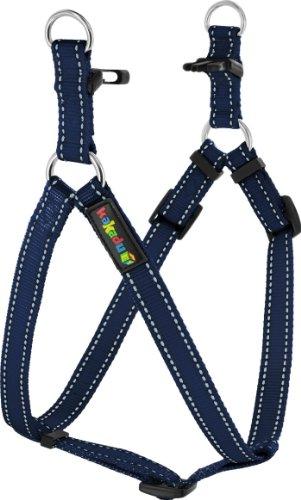 Kakadu Pet Empire Tracks Adjustable Nylon Step In Dog Harness, 1/2″ x 13-21″, Marine (Blue with White Stitch), My Pet Supplies