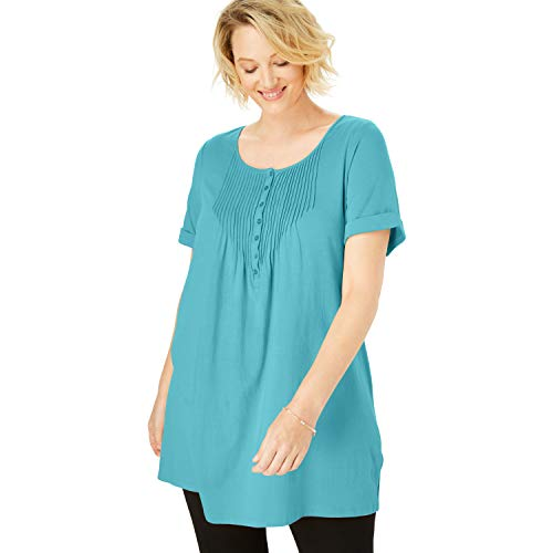 (Woman Within Women's Plus Size Pintucked Henley Tunic - Soft Turquoise, 22/24)