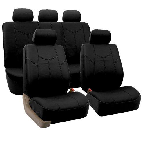 FH Group PU009BLACK115 Black Rome PU Leather Car Seat Cover (Split Bench and Airbag Ready Full Set)