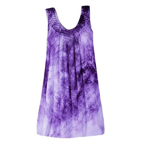 CapsA Women Plus Size V Neck Tank Tops Sleeveless Henley Shirts Up Long Tunic Tees Solid Casual Vest Shirt Blouse Purple