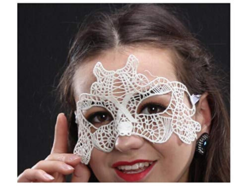 Prop Sexy Elegant Tiger Lace Cutout Mask Venetian Masquerade Mask for Halloween Party (White) Party Decoration