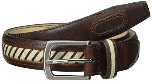 Greg Norman Men's Canvas Inlay Belt, Brown/Khaki, 36