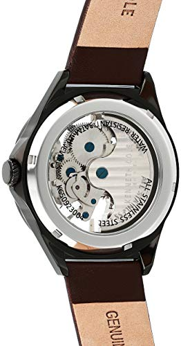 Kenneth Cole New York Men's Automatic Stainless Steel Japanese-Quartz Watch with Leather Strap, Brown, 17.2 (Model: KC50923004)