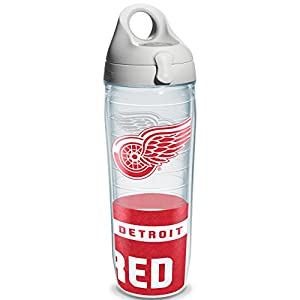 "Tervis 1145501 ""NHL Detriot Red Wings"" Water Bottle with Grey Lid, Wrap, 24 oz, Clear"
