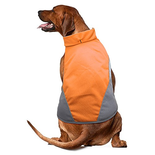 BSEEN Waterproof Dog Coat, Soft Fleece Lined Reflective Dog Jacket for Winter, Outdoor Sports Pet Vest Snowsuit Apparel, S-XXXL (M, Orange)