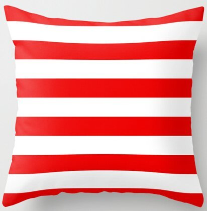 - Unique Style Stripe Red White Horizontal Stripe Zippered Throw Pillowcase Pillow Twin Side Print Pillow Sham 18x18 Inch