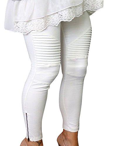 Pantalon Femme Casual Elastique Blanc Leggings Slim ZhuiKun cvARWOHqc