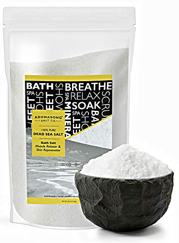 Dead Sea salt, Spa bath salts, 19 Lbs Fine Grain Large bulk resealable pack, 100% Pure & natural, Used for Body wash Scrub, Soak for Women & Men to relax tired muscles and treat skin issues (Sea Salt Psoriasis)